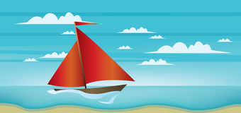 Abstract landscape with red boat, blue sea, white clouds and seashore vector illustration