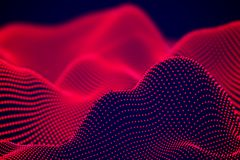 Abstract landscape of Red digital particles or sound waves. vector illustration