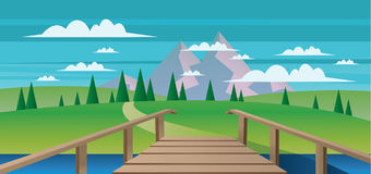 Abstract landscape with a river, wooden bridge and green fields with mountains. Digital vector image Stock Image