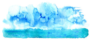 Abstract landscape with sea and clouds. Marine image.Watercolor hand drawn illustration Royalty Free Stock Images