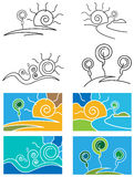 Abstract landscape set. Line art abstract landscape set Vector Illustration