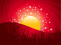 Abstract landscape sunset Stock Images