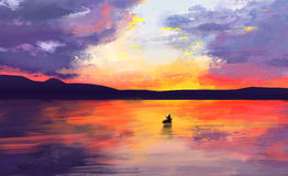 Abstract landscape, sunset. Boat, digital painting Royalty Free Stock Images