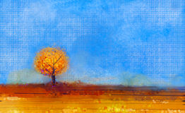 Oil painting landscape, tree and field at Fall Season Nature Background Royalty Free Stock Image