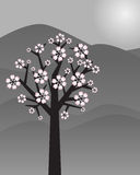 Abstract landscape with tree - vector. Illustration of an abstract landscape with a blossom tree.EPS file available Royalty Free Stock Photo