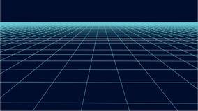 Abstract frame landscape. Vector perspective grid. 3d mesh stock illustration