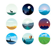 Abstract landscapes. Vector set of abstract landscapes Royalty Free Stock Images