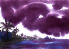 Abstract landschap De donkere stormachtige wolken boven tropische kust overhandigen getrokken waterverfillustratie op een nat gew stock illustratie