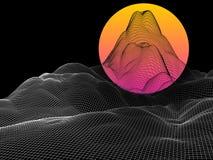 Abstract landschap met gebiedzon op horizon Futuristisch netwerk v Stock Illustratie