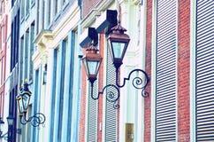 Abstract landschap met lichten op de voorzijde van het huis in Amst Royalty-vrije Stock Foto's