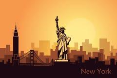 Abstract landschap van de stad met gezichten van de V.S. vector illustratie