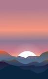 Abstract landschap van een zonsondergang stock illustratie