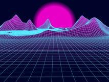 Abstract landschapsnet met zon op horizon Futuristische vectorb Stock Illustratie