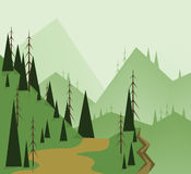 Abstract landschapsontwerp met groene bomen, heuvels, weg en een kloof, vlakke stijl Stock Foto's