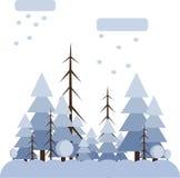 Abstract landschapsontwerp met witte bomen en wolken, die in een bos in de winter, vlakke stijl sneeuwen royalty-vrije illustratie