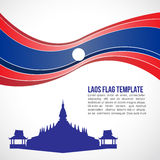 Abstract Laos flag wave and Pha That Luang, Vientiane Stock Photos
