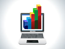 Abstract laptop with business chart. Vector illustration Royalty Free Stock Photography