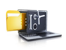 Abstract laptop safe and folder Royalty Free Stock Photo