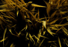 Abstract Large Rough Yellow Fluffy Fur Wallpaper. With Black Background, Abstract HD Wallpaper Background Stock Image