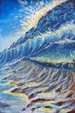 Abstract large turquoise sea wave, spray of sea foam, tsunami, sea storm, seashore, blue sky oil painting. Impressionism. Art. Royalty Free Stock Photo