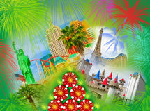 The abstract Las Vegas collage. Poker, Casino and Las Vegas collage. Wellcome to Las Vegas and Gambling concept Stock Image