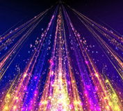 Abstract laser beams with glare sparks and stars Stock Photography