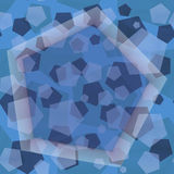 Abstract layered blue seamless pentagon pattern, fun contemporary art background design Stock Photos