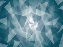 Abstract layered dark blue / gray triangle pattern with bright center background design. Abstract triangle shapes randomly layered, in dark blue / gray shades stock illustration