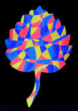 Abstract leaf drawing. A colourful marker pen sketch of a Aspen leaf shape Royalty Free Stock Photos