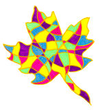 Abstract leaf drawing. A colourful marker pen sketch of a Maple leaf shape Royalty Free Stock Photography