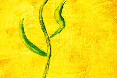 Abstract with leaf motif. Painted canvas of green leaf motif on yellow background. Bright colours and rich texture of oil paint stock images