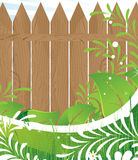 Abstract leaf pattern and rural fence Royalty Free Stock Photo