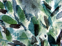 Abstract Leaf Watercolor. Macro photo of watercolor leaves on textured paper, suitable for layers, backgrounds and textures Royalty Free Stock Images