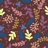 Abstract leafs retro seamless vintage pattern. Vector illustration royalty free illustration