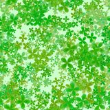 Abstract leafy pattern, Green leaves on light background, Cloverleaf spring texture, Seamless four leaf clover illustration. Abstract leafy spring pattern, Green Stock Photo