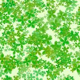 Abstract leafy pattern, Green leaves on light background, Cloverleaf spring texture, Seamless four leaf clover illustration Royalty Free Stock Photo