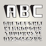 Abstract Lean Shadow Alphabet and Numbers. Editable eps10 Vector Stock Image