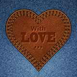 Abstract Leather Heart On Jeans Texture Royalty Free Stock Image