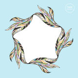 Abstract leaves frame border. Floral leaf banner for text  design. Colorful nature illustration Royalty Free Stock Images