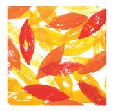 Abstract leaves painting. Hand printed. Bright autumn postcard illustration. Fall leaf Stock Photography