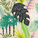 Abstract leaves and palm trees seamless beige background. Abstract exotic composition of tropical leaves and palm trees. Beach jungle cartoon seamless pattern Stock Images