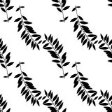 Abstract leaves seamless pattern. Hand drawn leaf silhouettes with scribble textures. vector illustration