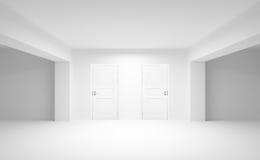 Abstract leeg binnenland met twee witte deuren Stock Foto's