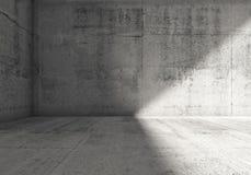 Abstract leeg donker concreet ruimte 3d binnenland Royalty-vrije Stock Foto's