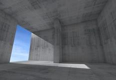 Abstract leeg ruimtebinnenland met concrete muren en hemel Stock Foto's