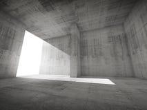Abstract leeg ruimtebinnenland met concrete muren en het gloeien doo Stock Foto