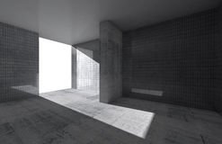 Abstract leeg ruimtebinnenland met concrete vloer Royalty-vrije Stock Afbeeldingen