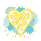 Abstract lemon heart on the drops background. Stock Photography