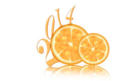 Abstract lemon new year 2014. Isolated on white background with reflection Royalty Free Stock Images
