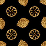 Abstract lemon pattern. Gold hand painted seamless background. Citrus fruit golden illustration. Stock Photography